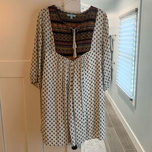 Mixed Print Babydoll Dress